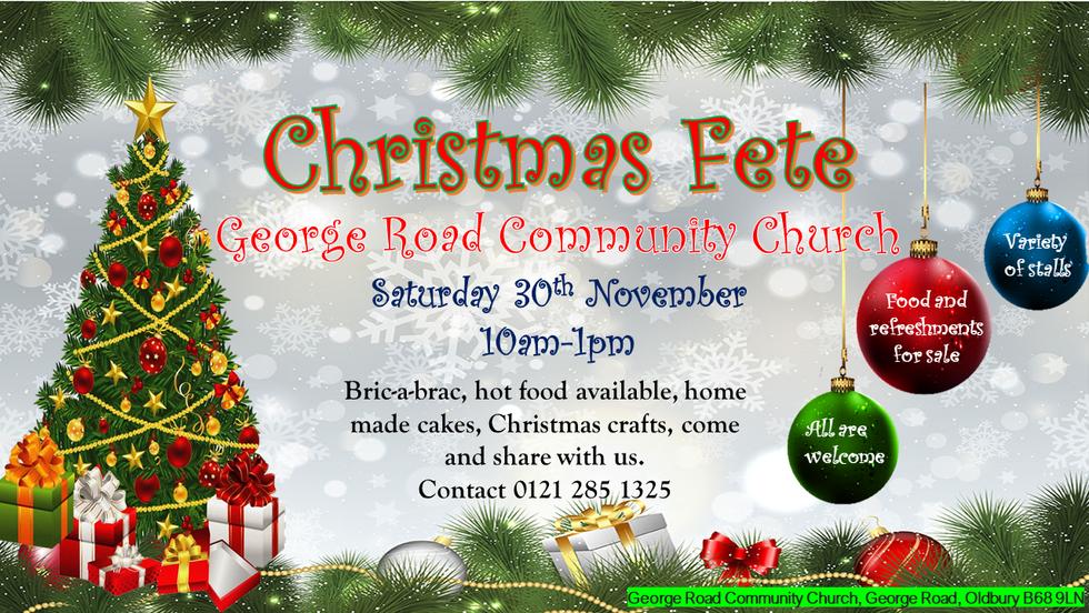 Christmas Fete Saturday 30th November 2019