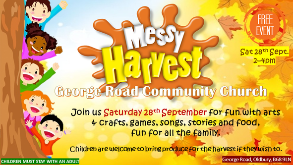 Messy Church Harvest Saturday 28th September 2019