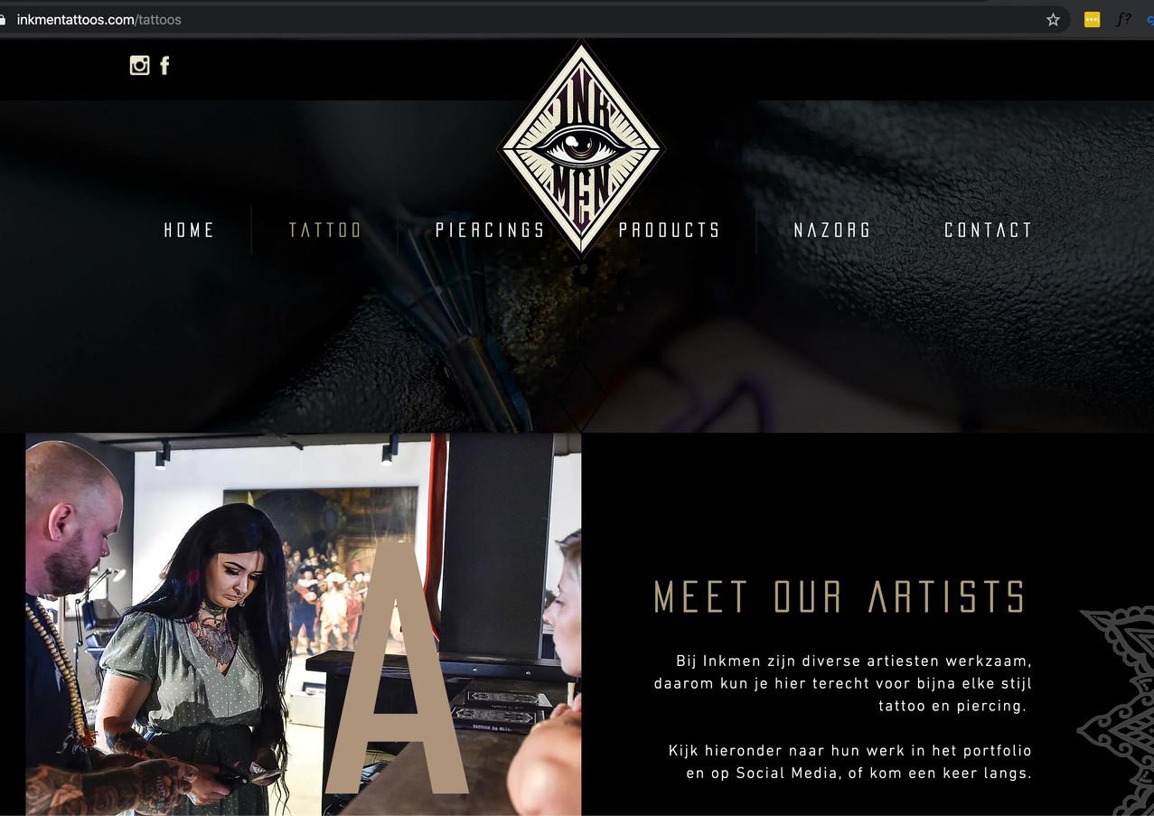 Inkmen tattooshop website