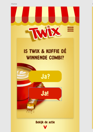 Twix & koffie Supermarkt landing