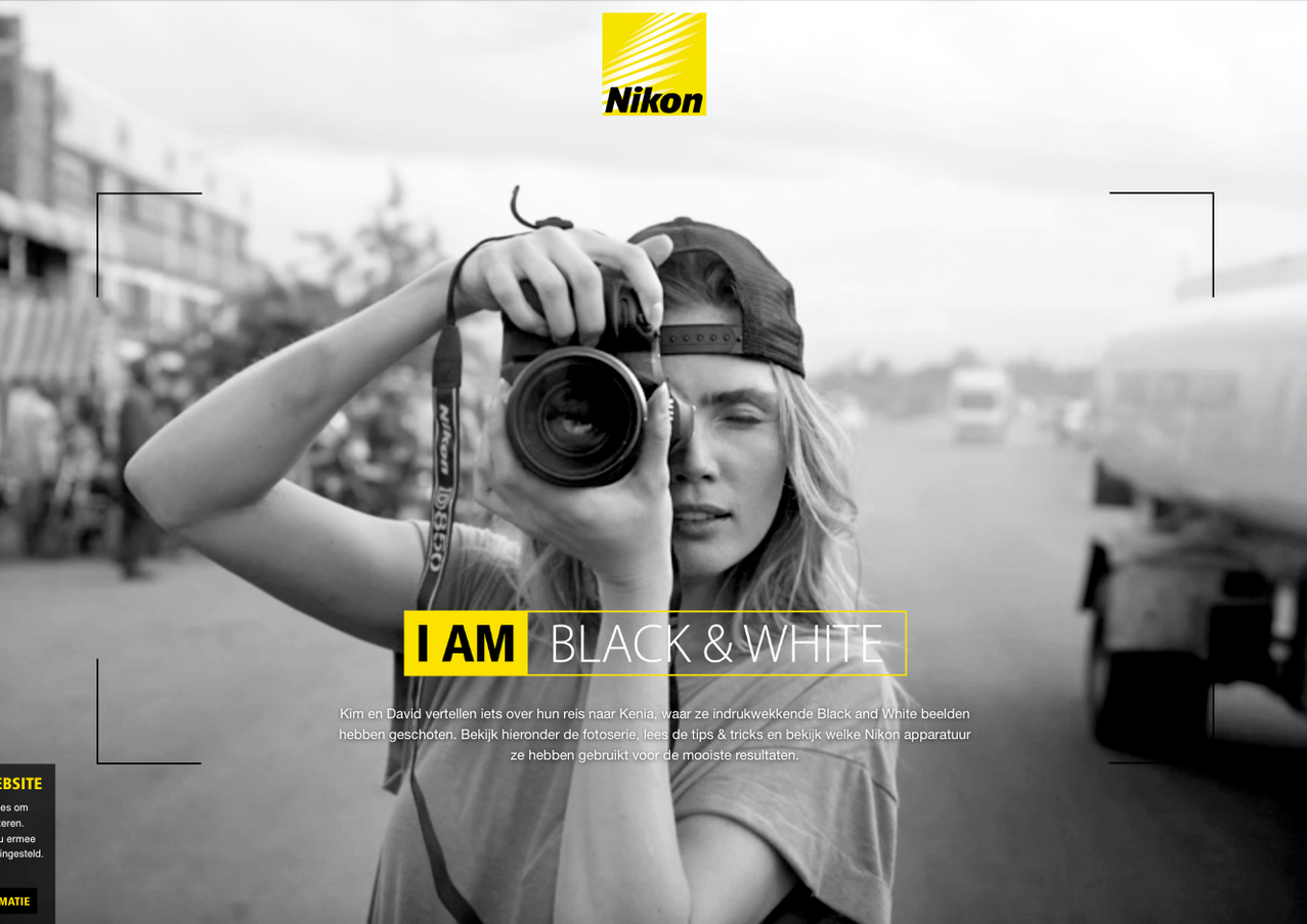 Nikon: I am black&white landingspage