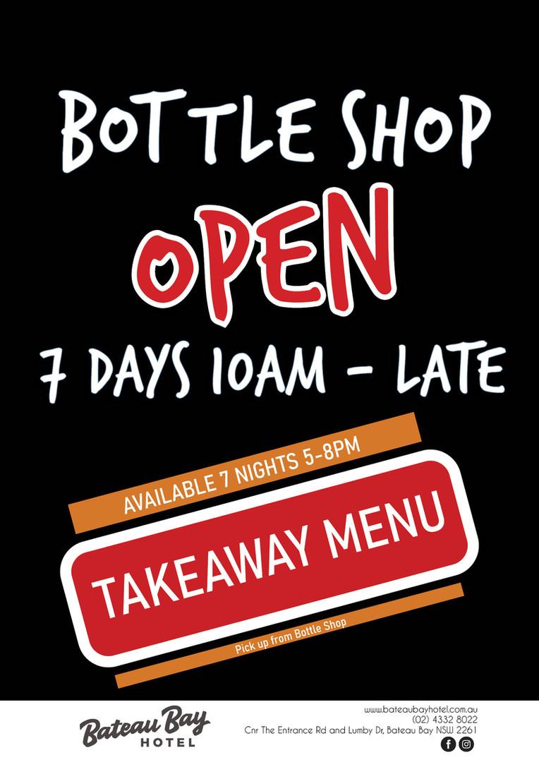 Bottle Shop OPEN 7 Days