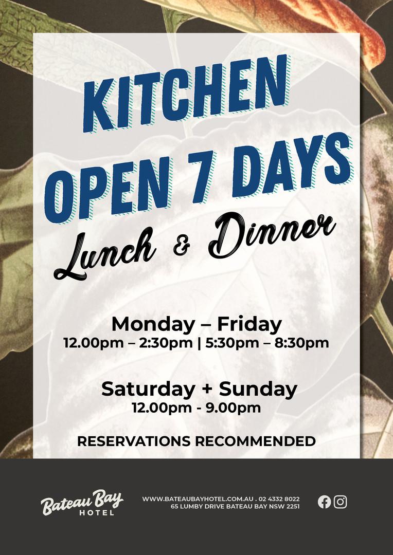 Kitchen Open 7 Days