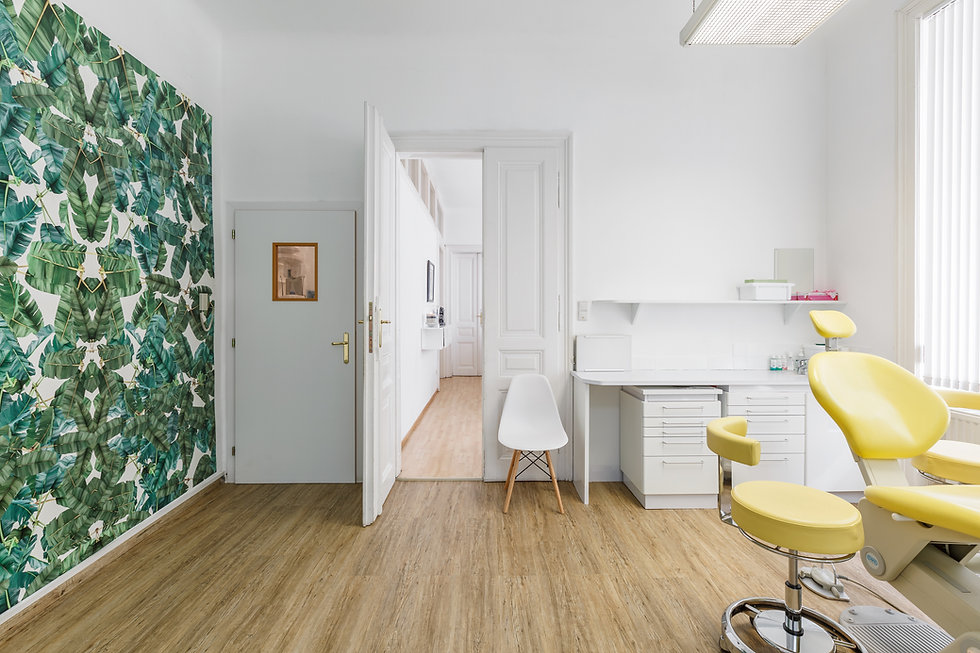 Wide shot of the dentist office. The left wall is covered with a modern green palm leave pattern. Open white door to the next rooms in the middle. White furniture and a yellow dentist chair in the right. Wooden floors and a lot of daylight.