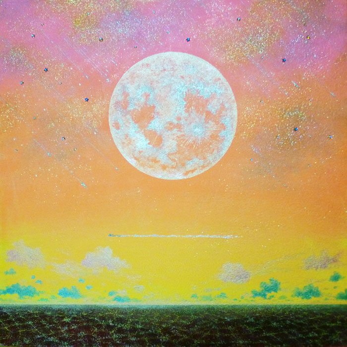 夕焼けの月