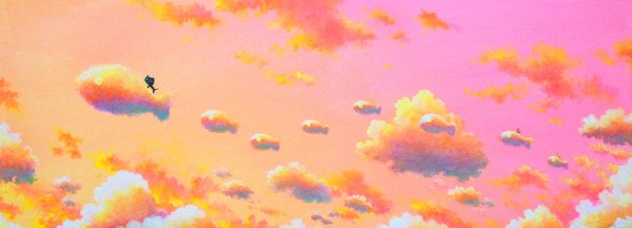 夕焼け空をとぶ猫と魚雲