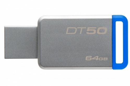 FLASH MEMORY USB 3.0, KINGSTON, DT50, 64GB, PLATA+AZUL