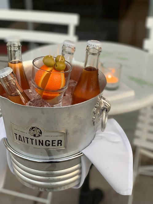 the sprtiz - served in individual bottles