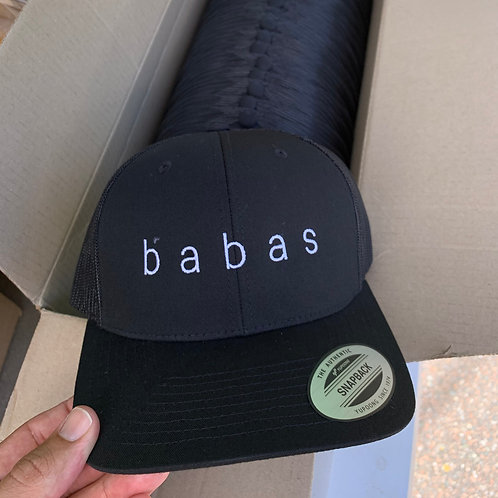 b a b a s - classic trucker hat with white text