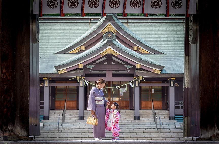 札幌 写真館 七五三 ロケ ロケーション 神社 着物 お参り 撮影
