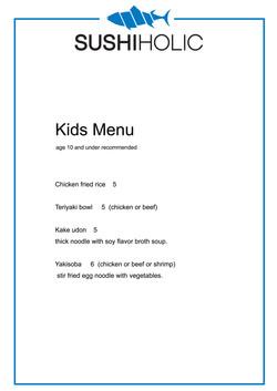 sushi holic kids menu