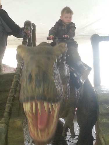 Riding a dinosaur (undisclosed location)