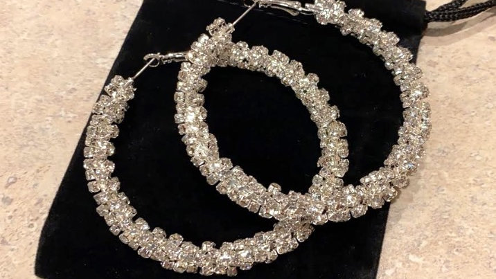18K White Gold plated hoops