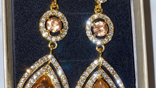 Peach Crystal Dangle Earring