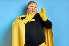 surprised emotional caucasian superhero