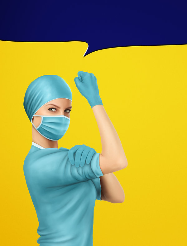 Concept of healthcare worker inspired by