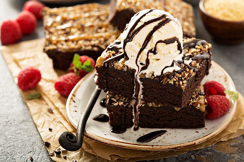 Fudgy brownies with nuts, chocolate and