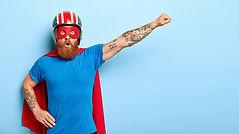 Stupefied emotive man with ginger beard