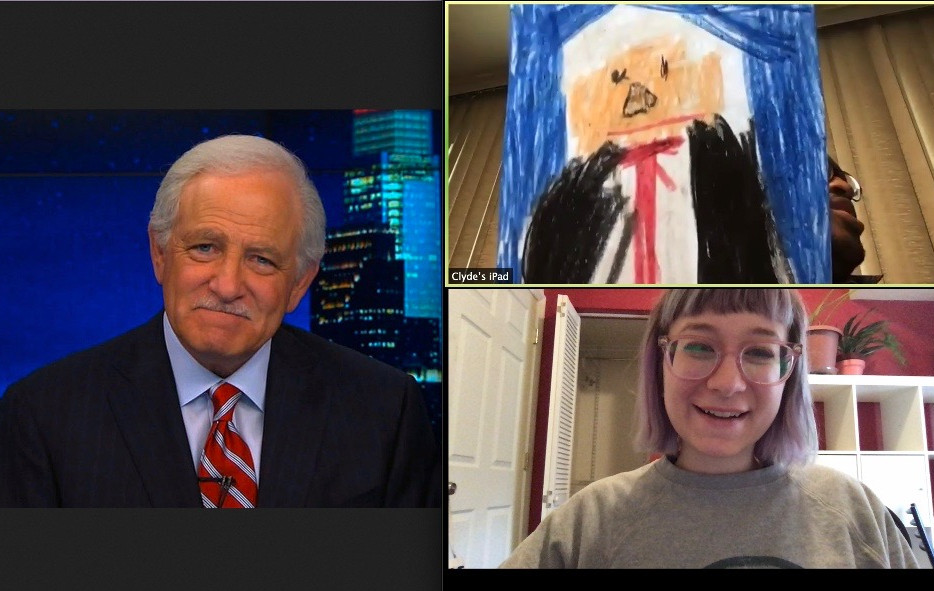 teaching artist Annesley Williams on Zoom with Clyde Henry while drawing a news anchor