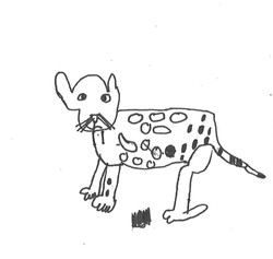 Leopard by Jerard Harris, 4 x.4 inches, ink on paper, $20