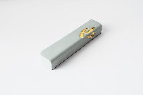 Medium ceramic Mezuzah Case with Gold
