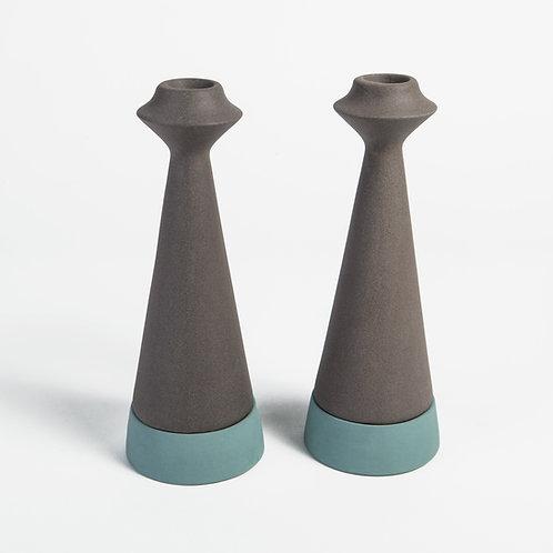 Basalt and blue Ceramic Candle Holder set, Tea light candle holder, taper candle holders, Ceramic Candlestick holder set
