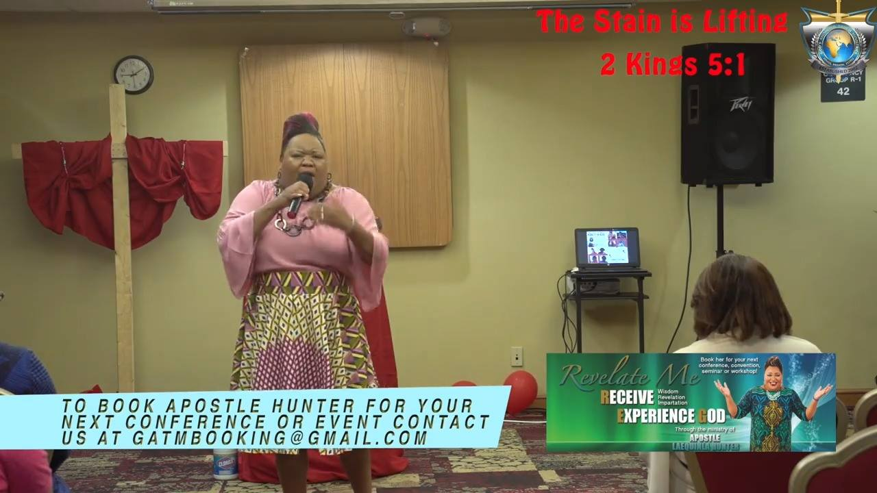 """Apostle Hunter as she ministers from 2 Kings 5:1 """"The Stain Is Lifting"""". We pray this message blesses you. Purchase your DVD today!"""