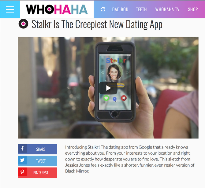 Stalkr is featured on WhoHaHa!
