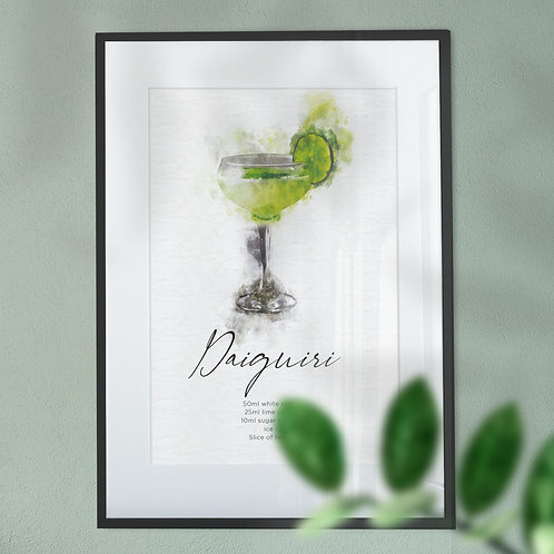 Watercolour Abstract Wall Art Print of a Daiquiri Cocktail Recipe