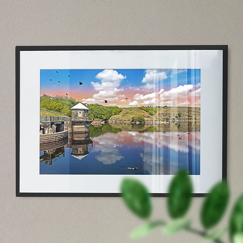 Stunning Greenbooth Reservoir Wall Art Print - Rochdale Pink Sky Digital Effect