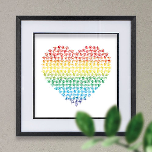 Rainbow Heart made up of Manchester Bees Wall Art Print