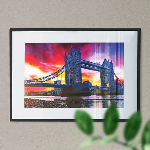 A Wall Art Print of Tower Bridge at Night with Red, Yellow and Blue Sky