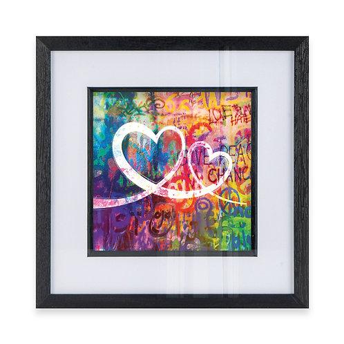 2 Love Hearts Linked on a Multicolour graffiti Effect Wall Art Print