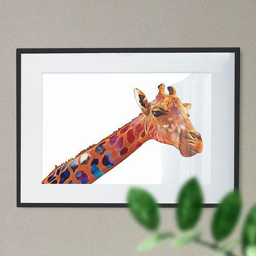 A Modern Multicolour Giraffe Digital Wall Art Print