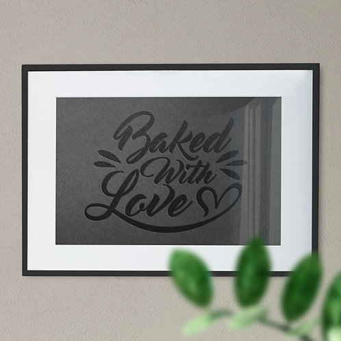 Baked With Love Heart Pressed Wall Art Print