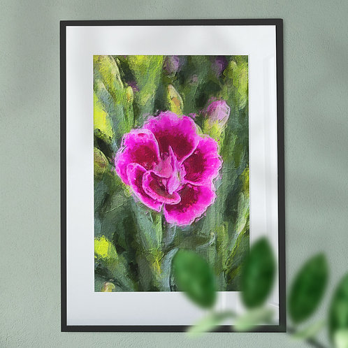 Wall Art Print of a Pink Flower in a Oil Painting Effect