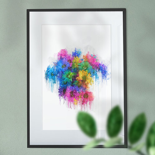Wall Art Print of Multicolour Flowers with an Abstract Effect Digital Art Print