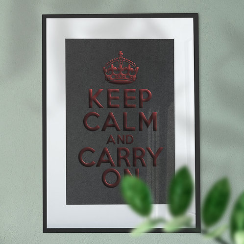 Keep Calm and Carry On Red Foil Effect Digital Wall Art Print