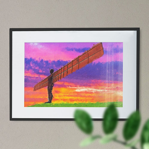 A Digital Wall Art Print of The Angel of The North Purple and Orange Sky