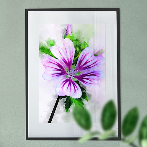 Watercolour Wall Art Print of a Purple Flower