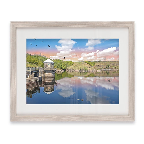 Stunning Greenbooth Reservoir, Rochdale Pink Sky - Grey Wood Framed Print