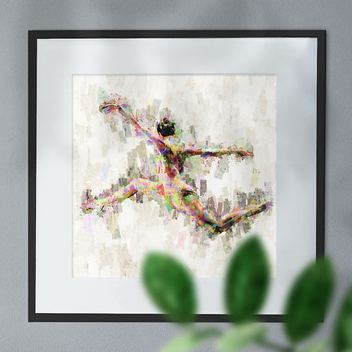 Leaping Ballet Dancer With Abstract Background Wall Art Print