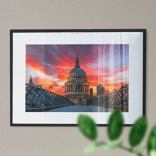 A Wall Art Print of St Pauls Cathedral and Millennium Bridge