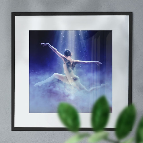 A Wall Art Print of Ballet Dancer Leaping in the Clouds