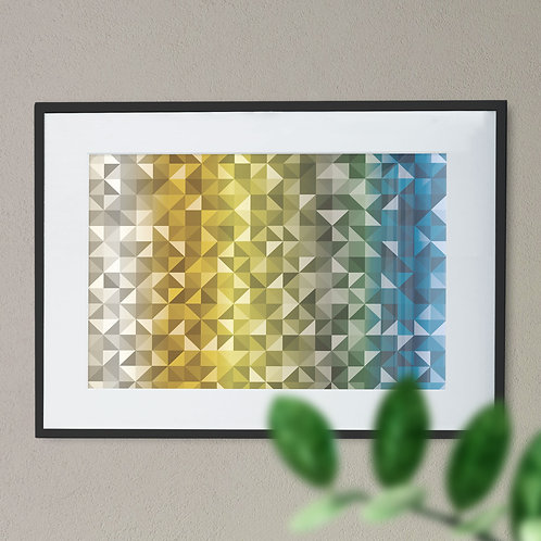 Abstract Triangle/ Geometric Wall Art Print In Graduated Colour