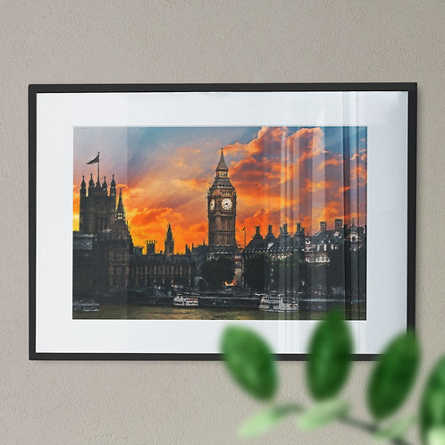 A Wall Art Print of Big Ben at Night with Orange and Blue Sky