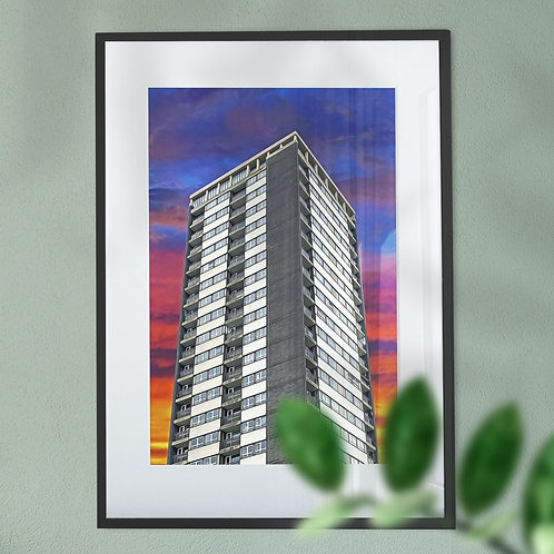 Rochdale Flats on a Colourful Sky Wall Art Print