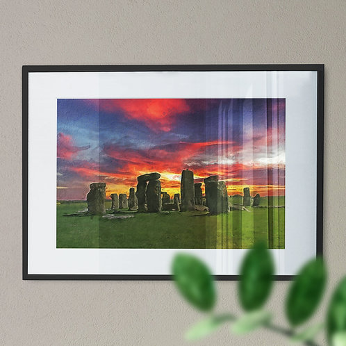 A Wall Art Print of Stone Henge at Night with Blue, Red and Yellow Sky