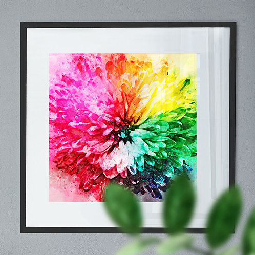 Wall Art Print of a Rainbow Flower Abstract