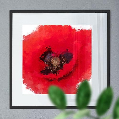 Poppy Digital Wall Art in a Paint Effect
